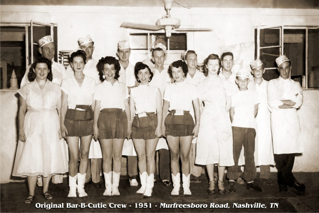 Sepia photograph of the original 1951 Bar-B-Cutie crew on Murfreesboro Road in Nashville, TN