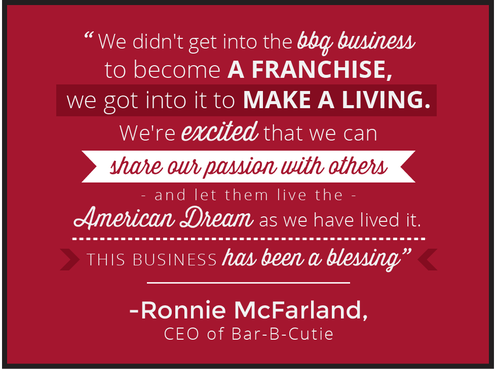"an infographic that says ""We didn't get into the bbq business to become a franchise, we got into it to make a living. We're excited that we can share our passion with others and let them live the American dream as we have lived it. This business has been a blessing — Ronnie McFarland, CEO of Bar-B-Cutie"" in white text against a red background."